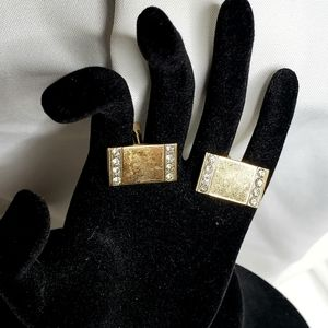 Vintage | Gold and Diamond Cuff Links